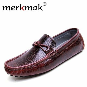 Men loafers fashion casual shoes driving men flats handmade men shoes genuine leather brand moccasins alligator grain flat shoes