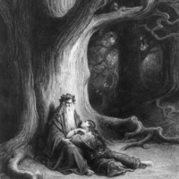 The Enchanter Merlin And The Fairy Vivien In The Forest Of Broceliande, From 'vivien', Poem By Alfred Tennyson (1809-92), Published By Hachette In 1868 Giclee Print Poster by Gustave Dore