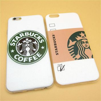Hot Sale Fashion Starbuck Coffee TPU Slim Back Cover Skin for Apple iPhone 6 6s 4.7'' Ultra Thin Soft Phone Case Shell