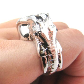 Detailed Elephant Head Shaped Animal Ring in Shiny Silver | US Sizes 7 to 9