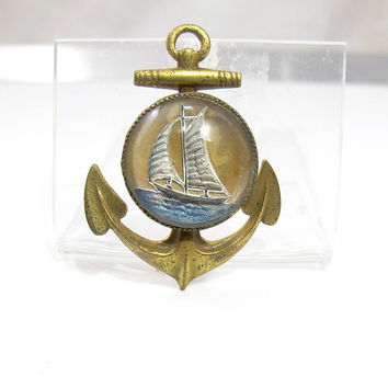 Antique Essex Crystal Brooch. Sailing Ship Anchor Nautical Brooch. Reverse Intaglio Rock Crystal Jewelry.