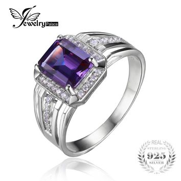 JewelryPalace Alexandrite Sapphire 4.7ct Engagement Wedding Ring 925 Solid Sterling Silver New Men's Gem stone  Vintage Jewelry