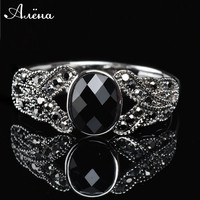 Vintage Black Rings Jewelry Onyx Stone Finger Ring Fashion Channel Jewelry Plated Black Onyx Rings Women Natural Stone Ring