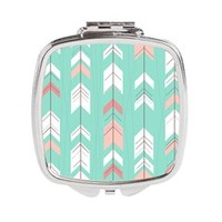 Pink Mint Arrows Pattern Square Compact Mirror> Pink Mint Arrows Pattern> Wedding Little Treasures