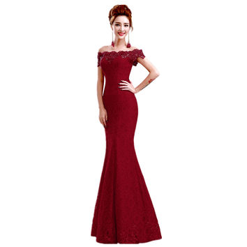 New Style Mermaid off the Shoulder Boat Neck Beaded Lace Evening Dress Long Vestido De Festa Longo Evening Gown