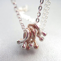 Charm Necklace with Organic Silver and Rose Gold Bramble Drops, Mixed Metal Jewelry, Modern botanical