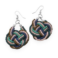 Braided Multicolor Bead Drop Fashion Earrings