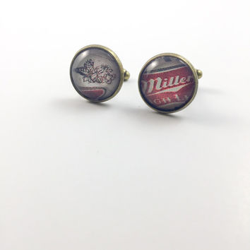 Miller Cufflinks (Ready to Ship) - Miller Logo Cufflinks Groom's Corner - Wedding Cufflinks - Everyday Cufflinks - Antique Bronze