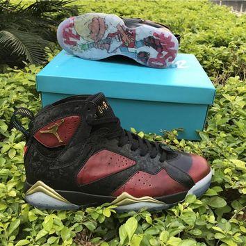 Air Jordan 7 Doernbecher Men Basketball Shoes Black University Red Metallic Gold Sports Footwear Sneakers Top Quality With Box Size41-47
