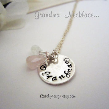 Grandma Necklace,2 Grand kids Birthstone Necklace,Mother's Day,Mommy Jewelry,We Love,Nana Jewelry,Hand stamped Grandma Necklace