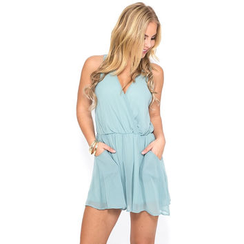 Time Of My Life Romper In Pastel Blue