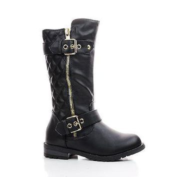 Mango21K Black Pu By Link, Children's Girls Knee High Quilted Stitched Buckle Riding Boots