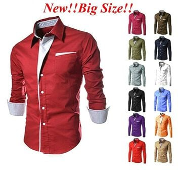 11Colors Mens Casual Slim Fit Long Sleeve Casual Dress Shirts S/M/L/XL/2XL/3XL4XL