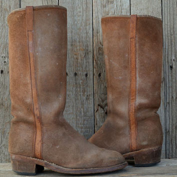 Vintage 70's Suede Leather Western Stacked Heel Campus Riding Boots, 7 Womens