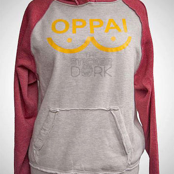 SALE * OPPAI Two Toned Hoodie Sweater Free PRIORITY Shipping ( One Punch Man Saitama Genos Heat Transfer Vinyl )