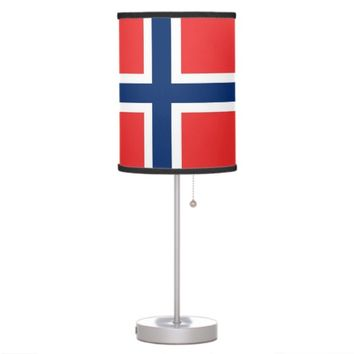 Patriotic table lamp with Flag of Norway