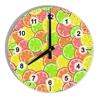 "Colorful Citrus Fruits 8"" Round Wall Clock with Numbers All Over Print"