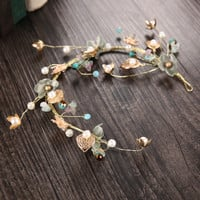 Wedding Dress Prom Dress Accessory Headwear Gold Leaf Hairband [9284030084]