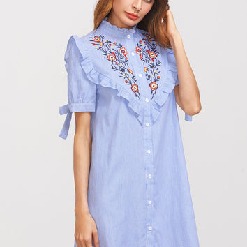 Blue Striped Ruffle Trim Embroidered Short Dress