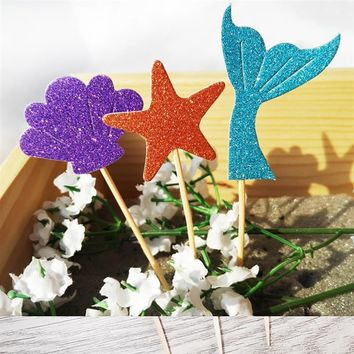 52PCS Cake Topper Glitter Mermaid Seashell Seahorse Starfish Shape Cupcake Topper Cupcake Pick Party Decor Topper for Birthday
