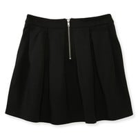Ponte Pleated Zip-Back Skirt
