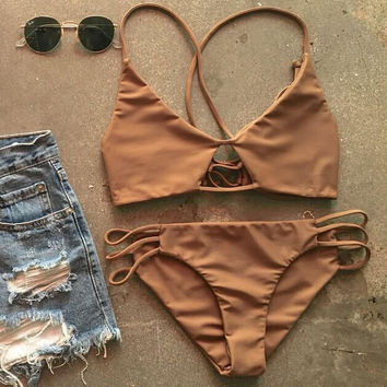 Solid Coffee Color Bikini Set for Women