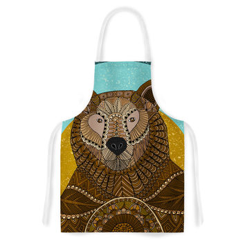 "Art Love Passion ""Bear in Grass"" Brown Blue Artistic Apron"