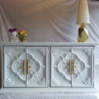 "Vintage Hollywood Regency/Art Deco/Mid Century ""White Hot"" Reburbished Dresser/Storage"