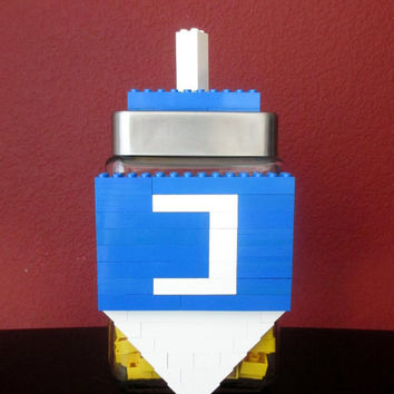 Lego Hanukkah Party Dreidel Hanukkah Chanukah Birthday Gift Centerpiece.LEGO  Birthday Gift.Monogram.LEGO Candy Jar.Hostess Gift.Home Decor