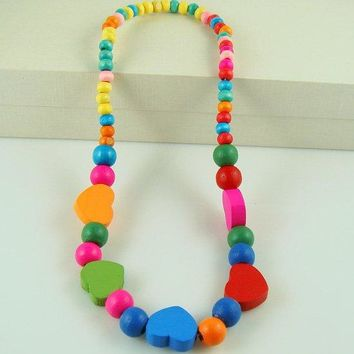 Colorful Heart Necklace and Bracelet for Kids