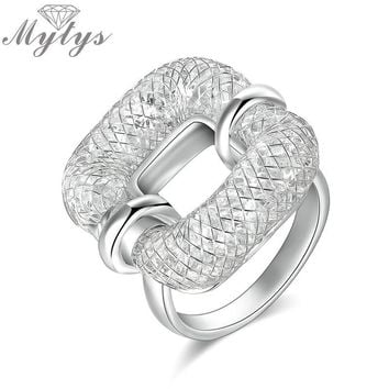 Mytys Silver Mesh Tube Filled Crystal Hollow Square Ring Fashion Jewelry Unique Design Original Brand Rings R1828 R1218