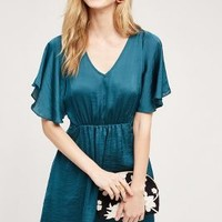 Maeve Fluttered Satin Dress in Turquoise Size: