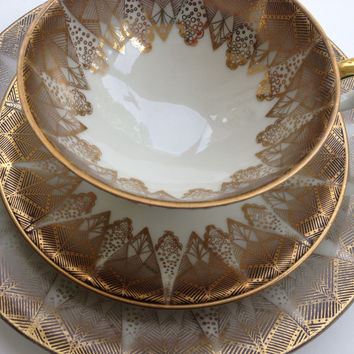 Vintage Bavaria Elfenbein Porzellan Porcelain Three Piece Cup Saucer And Plate Set Elegant Gold Trim Design