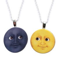 MOON EMOJI FRIENDSHIP NECKLACE SET