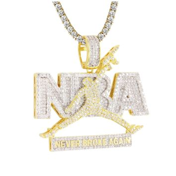 Never Broke Again Simulated Diamond Gold Finish AK-47 Jumpman Pendant Necklace
