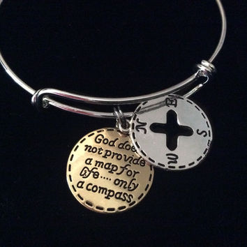 God Compass Expandable Charm Bracelet Adjustable Silver Bangle Gift Trendy Unique Bracelet Trendy Two Toned Silver and Gold
