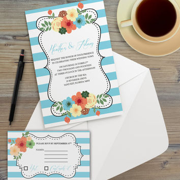 Instant Download - Blue Bold Stripes Floral Mod Flower Boho Bohemian Hipster Modern Wedding Bridal Shower Party Invitation RSVP Template