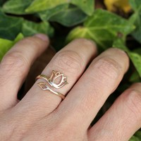 Lotus Ring, Adjustable Bronze Ring
