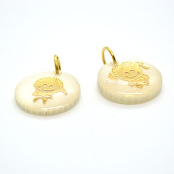 "(1-2198-h8-2) Gold Overlay Mother of Pearl ""My Kids"" Pendants, 16mm."