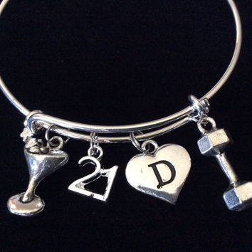 Custom Martini 21 Expandable Charm Bracelets Adjustable Bangle Gift (Other Numbers Available)