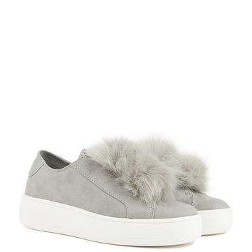 Steve Madden Puffball Platform Sneakers in grey and black