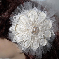 Victorian Bridal Hair Clip Fascinator Kanzashi by SeamsVictorian