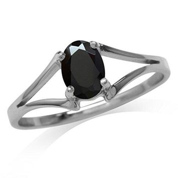 Natural Oval Shape Black Spinel 925 Sterling Silver Solitaire Ring