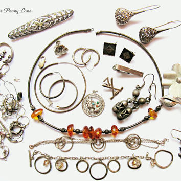 Vintage Scrap Sterling Silver Jewelry / Jewellery, Destash Lot