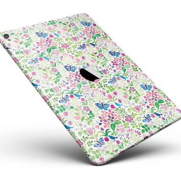 "Butterflies and Flowers Watercolor Pattern V2 Full Body Skin for the iPad Pro (12.9"" or 9.7"" available)"