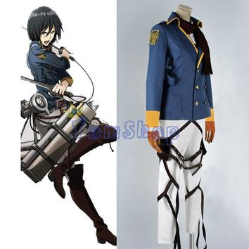 Cool Attack on Titan : The Wings of Counter Mikasa Ackerman Cospaly Uniform Full Set Halloween Costumes Custom-made AT_90_11