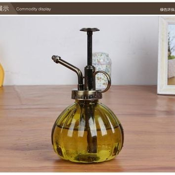 Vintage Pressure Sprayer Glass Bottle Watering Cans Pot For Succulent Plants Bonsai Flower Watering Pot Glass