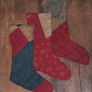 3 Primitive Stocking Ornaments, Antique Quilt Christmas Ornaments, Americana, Old Fashioned Holiday Decor, Red White Blue Stockings