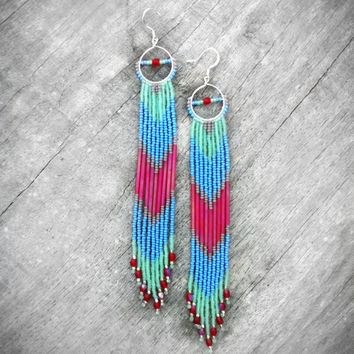Native American Inspired Long Fringe Beaded Earrings, Beaded Shoulder Dusters, Long Seed Bead Earrings, Chevron Earrings, Cherry Bomb