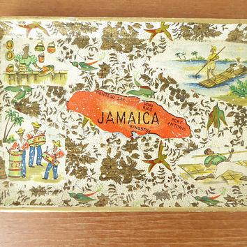 Jamaica alcohol proof small paper mache tray, Alfred Knobler style tray